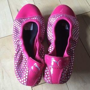 Puma hot pink silver polka dotted flats